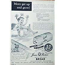 Jane Parker Bread 50's Vintage print ad. Color Illustration (Little Girl on bed) Original 1954 Woman's Day Magazine Art