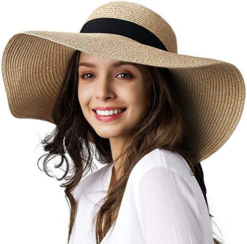 Woman Folding Empty Top Hat Summer Outdoor Sun Hat Ladies Wide-brimmed Hat mlg