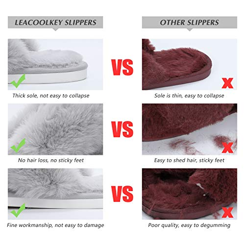 LEACOOLKEY Women Cross Band Slippers, Soft Plush Fleece Slippers,Cushioned Memory Foam Furry Cozy Open Toe House Shoes, Indoor Outdoor Faux Rabbit FurComfy Slippers