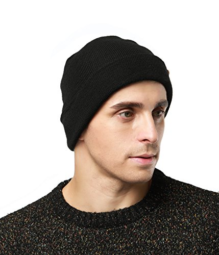 Knit Hat Daily Beanie For Men and Women, Black (Logo Knit Cap)