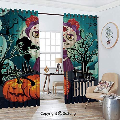 Blackout Window Curtains,Cartoon Girl with Sugar Skull Makeup Retro Seasonal Artwork Swirled Trees Boo Decorative Living Room Bedroom Thermal Insulated Window Drapes 2 Panel Set, 54