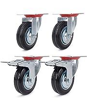 Forever Speed 4 stuks 75 mm/100 mm transportwielen zwenkwielen en zwenkwielen met rem zware wielen draagvermogen 200 kg / set zwart rubber plaatstaal, verzinkt zilver/zwart