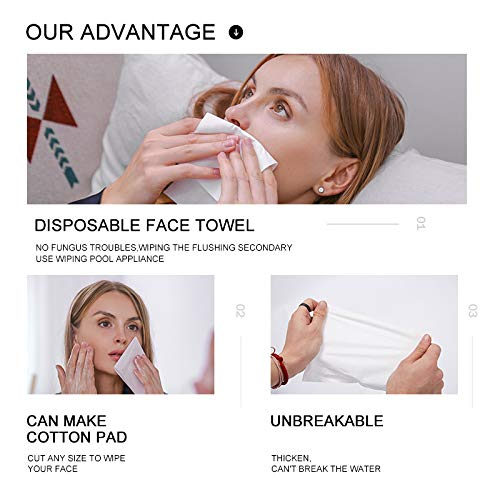 Luxury Facial Cotton Tissue Soft Dry Baby Wipes 100% Natural Cotton 7.9 * 7.9inch Disposable Cleaning Face Towel Sensitive Skin Care ,Makeup Removing and Baby Caring 3 Packs - 270 Count