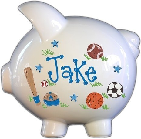 Hand Painted Personalized Large Piggy Bank - Sports (Baby Information Bank)