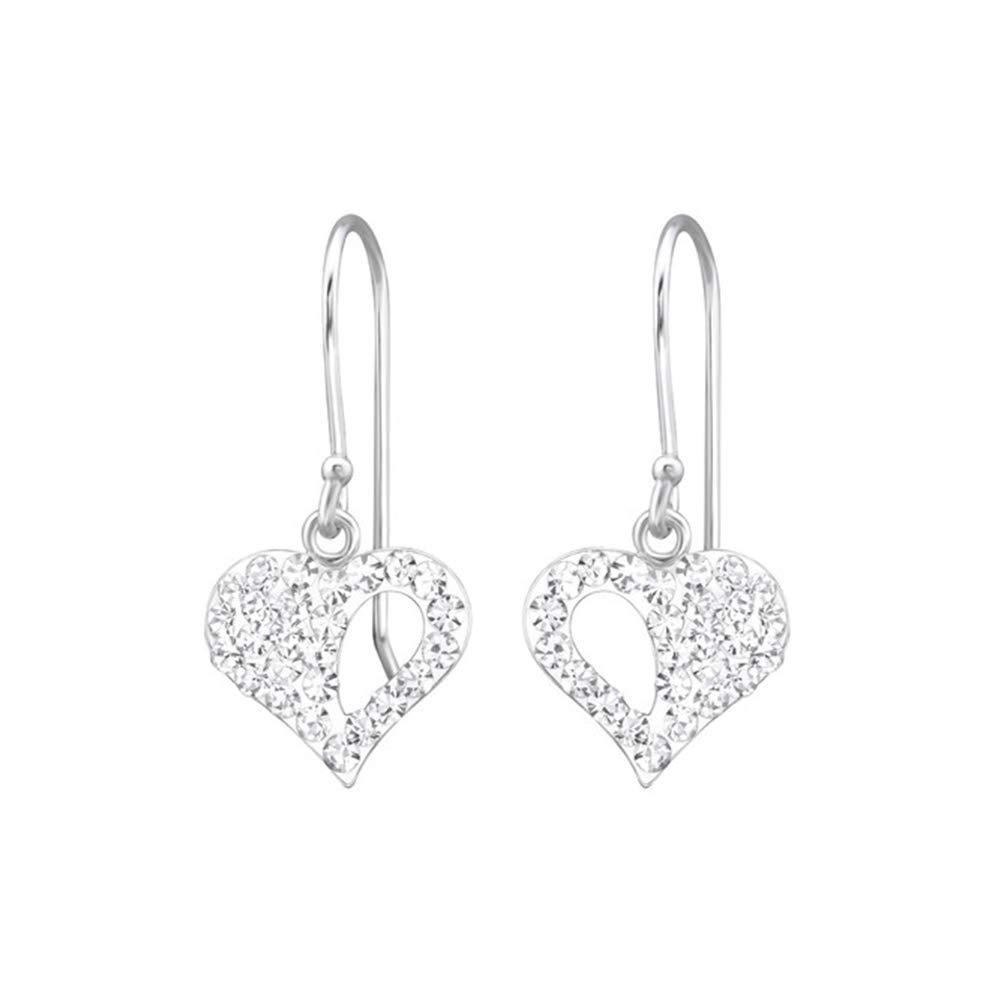 Girls Heart Crystal Earrings 925 Sterling Silver Nb Of Crystal Stones 46