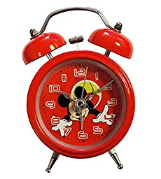 HAND 8815 Extremly Silent Children Cartoon Twin Bell Metal Alarm Clock- Mickey Mouse Style (Design 3)