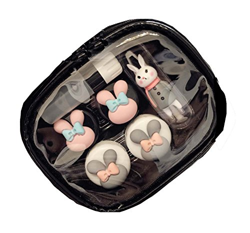 Rabbit Contact Lens Case Set / Storage Box / Partner Box,Gray - Gray Contact Lenses