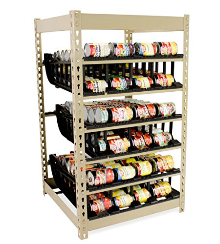 Can Rack 200 by FIFO | Stores 200 Cans | Eliminates Waste | Organize, Rotate and Dispense Canned Goods First In First Out | Adjustable Tracks | Food Storage | Organize Your Kitchen (Canned Food Storage Rack)