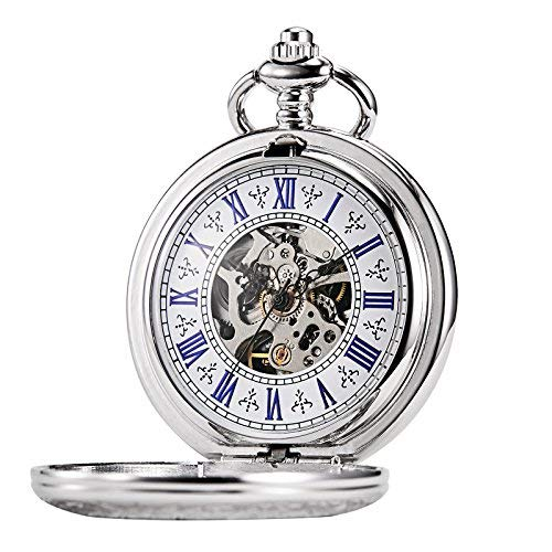 (TREEWETO Men's Steampunk Skeleton Mechanical Silver Fob Retro Pocket Watch)
