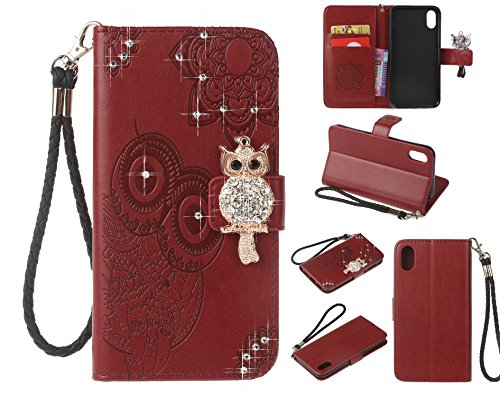 Fonction Coque Support Cuir iPhone en Case 10 Antichoc BONROY Carte Protection Elegante Porte de Papillon 10 X iPhone Magn Housse Cover Cuir iPhone X Fleur Housse Flip Etui Miroir pp5wCqSnxr