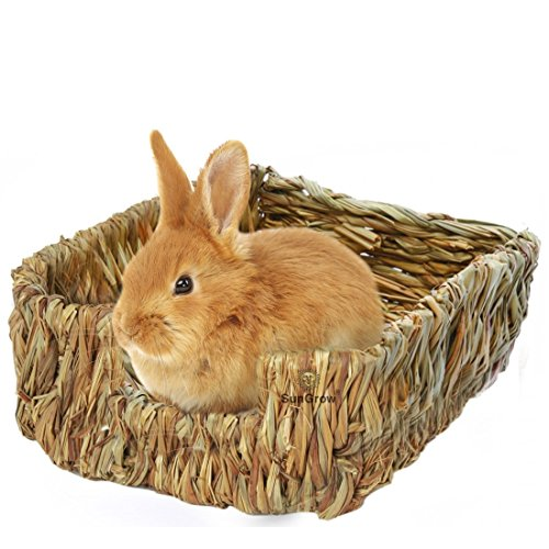 SunGrow Portable Grass Bed - Hand-Made Natural Grass: Provides Paws Protection & Relaxation : Lightweight, Durable, Safe & Comfortable Rabbits, Chinchillas, Guinea Pigs & Other Small Animals by Luffy Pets Collection