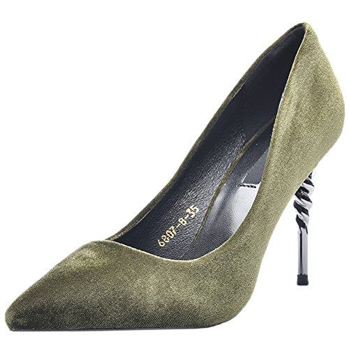 Spiral HooH Pumps Pumps High Toe Women's Pointed Green Flannel Heel Wedding XX47qr