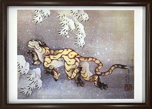 葛飾北斎 雪中虎図 A4 ポスター 輸送用 額付き ホビー おもちゃ 名画 絵画 グッズ トラ
