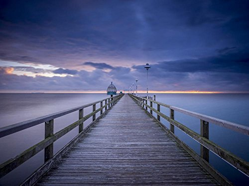 Quality Prints - Laminated 32x24 Vibrant Durable Photo Poster - Sea Bridge Zinnowitz Diving Bell Sea Sunrise Blue Hour Baltic Sea Holiday Travel Wave Beach Clouds Shadow Web Long Exposure