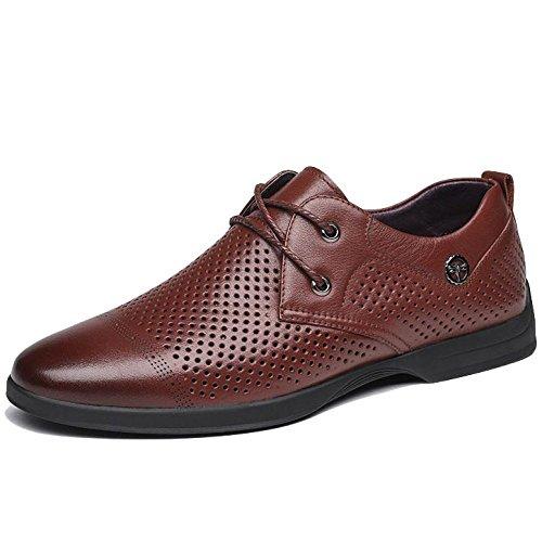 Moda Estiva da Uomo Business Scarpe Stringate in Pelle Marrone Scuro Scarpe Stringate Basse per Uomo con Punta Arrotondata Brown