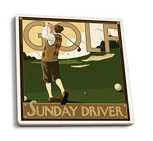 Lantern Press Golf - Sunday Driver (Set of 4 Ceramic Coasters - Cork-Backed, Absorbent)