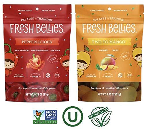 Fresh Bellies Vegan Snacks for Kids, Toddlers, and Adults – No Added Sugars, Gluten Free, Paleo Friendly, Only 3 Ingredients, Non GMO, Kosher, 6 Pack – Rainbow Variety, 6 pack