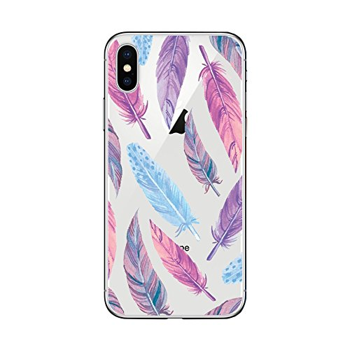 best service 83780 cfd43 iPhone X Case/iPhone Xs Case, Custom Style Transparent Clear TPU Protective  iPhone X Case/iPhone Xs Case by Fancy Case (Feathers)