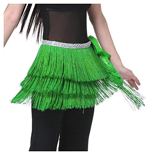 FidgetFidget New Belly Dance Costume Hip Scarf Belt Tribal Fringe Tassel wrap Belt 10 colors Green