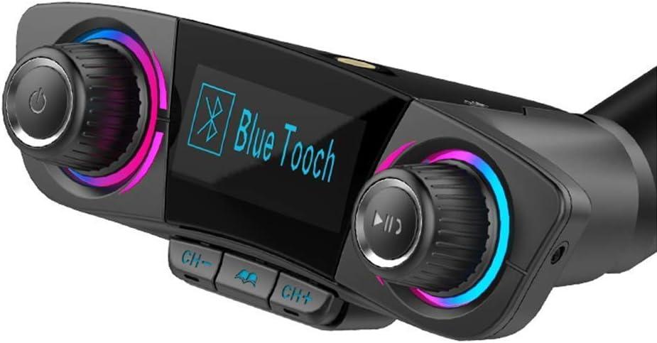 3T6B Transmisor FM bluetooh Coche, Manos Libres Coche MP3 y Reproductor de Coche Bluetooth 4.0 con Doble Puerto de Carga USB 2.1A