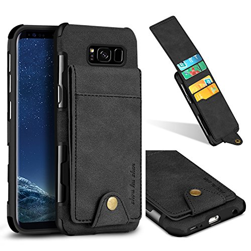 wholesale dealer f88f5 429d6 Galaxy S8 Wallet Case, 5 ID Credit Card Slot, Button Flip-Out Leather Drop  Protection Case - Black