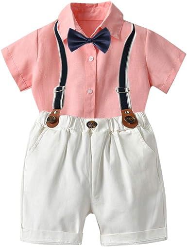Julhold Toddler Baby Boy Moda Simple Gentleman Vestidos Camisa de Algodón de Manga Corta Set Tirantes Set Completo 0-5 Años: Amazon.es: Ropa y accesorios