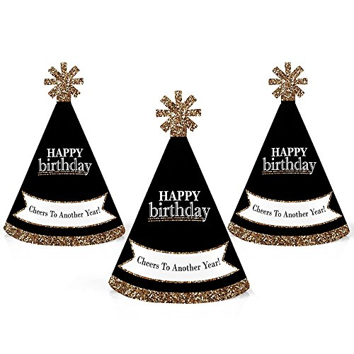 Adult Happy Birthday - Gold - Mini Cone Birthday Party Hats - Small Little Party Hats - Set of 10 -