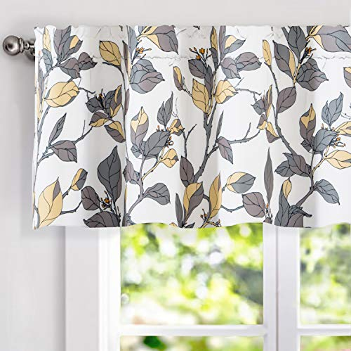 DriftAway Ryan Sketch Flower Floral Branch Leaves Lined Thermal Insulated Energy Saving Window Curtain Valance for Living Room Bedroom Kitchen, 2 Layer, Rod Pocket, 52