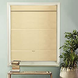 Chicology Cordless Magnetic Roman Shade, Privacy Fabric, Thermal, Mountain Almond, 48\