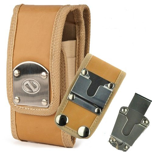 Gladiator Nubuck Brown Leather Heavy Duty Rugged Case with Belt Loop Clip and Steel Clip for Samsung Convoy 4.