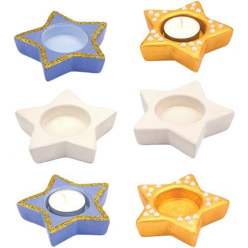 Baker Ross Lot de 4 Photophores en C/éramique en Forme d/Étoile Id/éal pour les Loisirs Cr/éatifs et La D/écoration pour Gar/çons et Filles