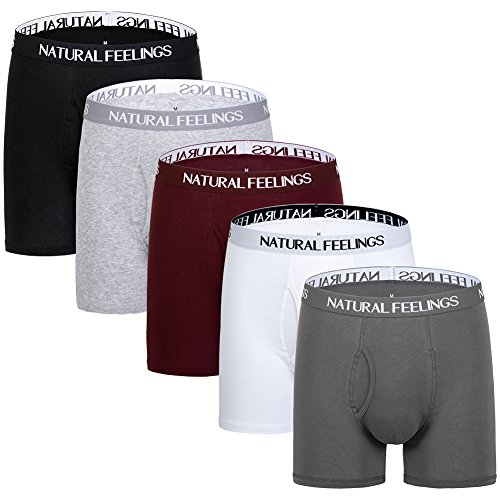 Natural Feelings Boxer Briefs Mens Underwear Men Pack of 5 Soft Cotton Open Fly Underwear - Xxl Natural