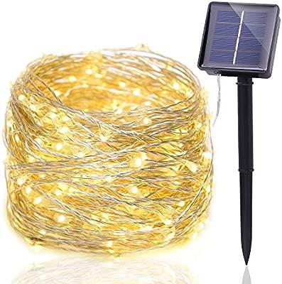 New Journey Halloween - Luz de cuerda solar, 200 LEDs - Control de sensor de luz de 72 pies, Impermeable, Ambientación de luz, para césped, jardín, ...