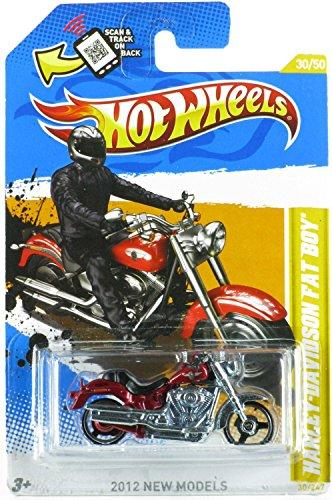 Hot Wheels 2012 New Models #30/50 Harley Davidson Fat Boy Red Variant (Harley Davidson Fat Boy Model)