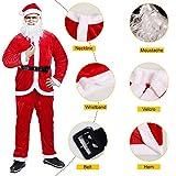 Men's Santa Suit, Plush Red Christmas Santa Claus Costumes for Adult 5 pc