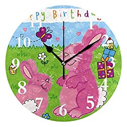 SHNUFHBD Personalized Non Ticking Silent Clock Art Living Room Kitchen Bedroom for Home Decor Rabbit and Birthday Present Round Acrylic Wall Clock