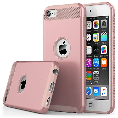 (iPod Touch 6th Generation Case,iPod Touch 5 Case,Jwest Dual Layers Hybrid Soft Silicone Hard Plastic Triple Quakeproof Drop Resistance Protective Case Cover (Rose Gold&Rose Gold))