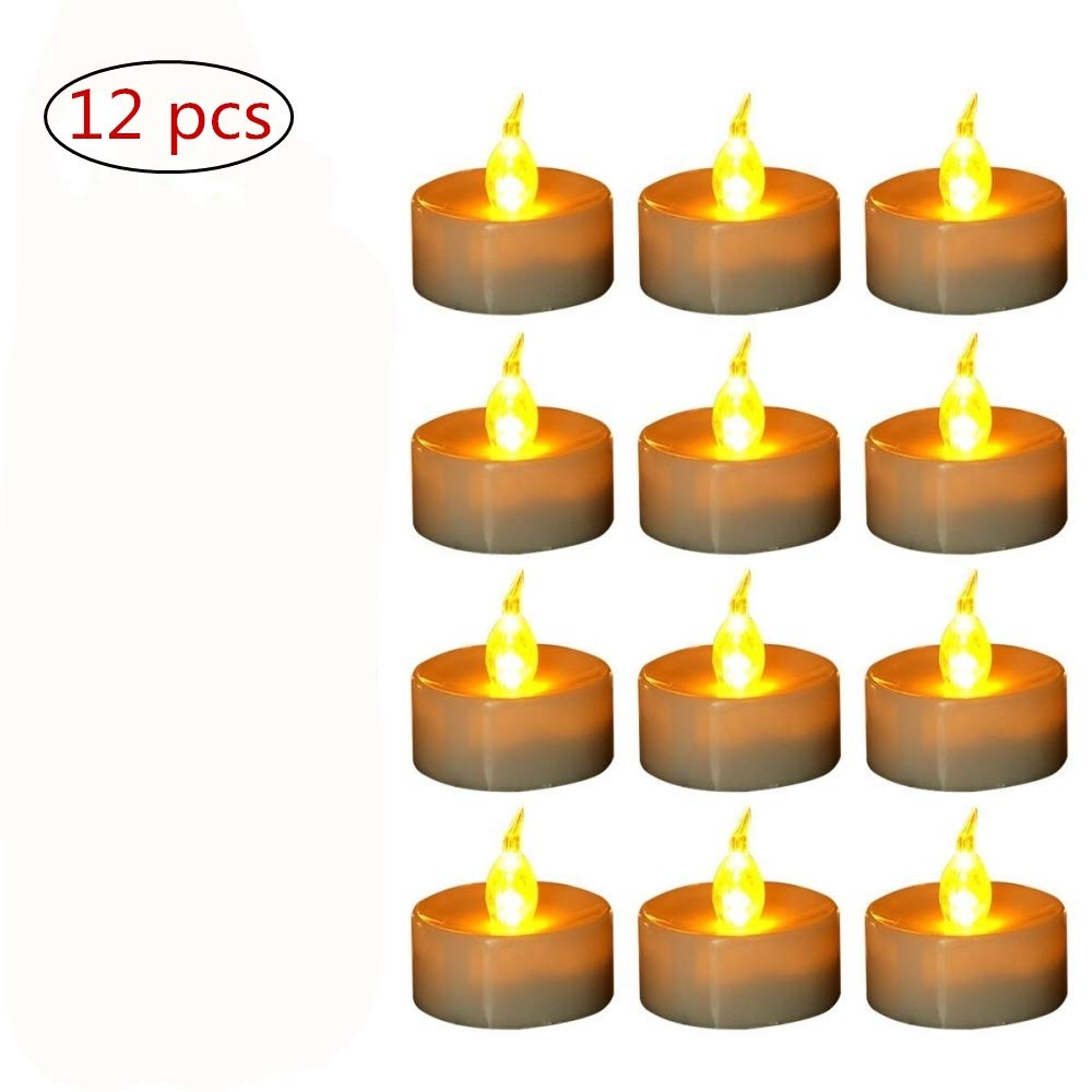 Yellow Flickering LED Candles, FABSELLER Flameless Electronic Tea Lights Plastic Candles with Batteries for Decoration, Festivals, Wedding (12Pcs)