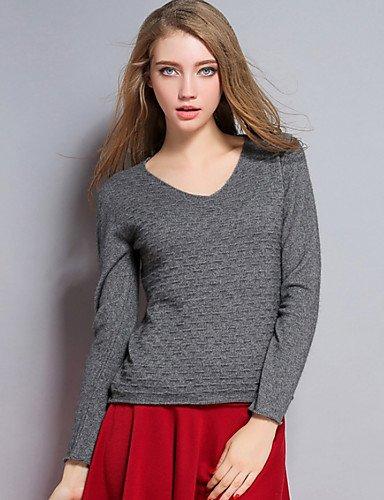 BaiChunYunYi Damen Standard Pullover-Lässig Pullover-Lässig Pullover-Lässig Alltäglich Druck V-Ausschnitt Langarm Polyester Frühling Dünn Mikro-elastisch B074WXMK6L Rcke Haltbarkeit 0abc4a