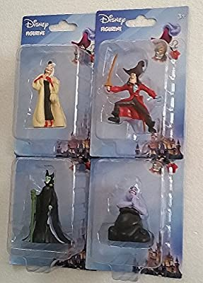 Disney Movie Villains - 4 Character Figurines From - Peter Pan, Little Mermaid, 101 Dalmatians, Sleeping Beauty