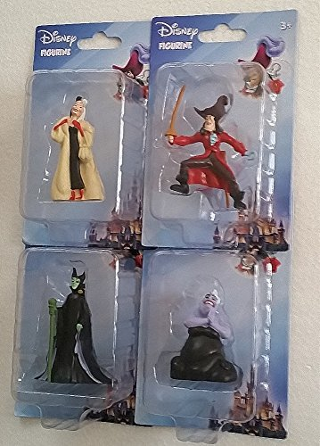 Animated Movie Villains - 4 Character Figurines From - Peter Pan, Little Mermaid, 101 Dalmatians, Sleeping Beauty ()