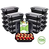SkyGenius Microwavable Meal Prep Container, Plastic Food Prep Storage Bento Box with Lids | BPA Free | Stackable | Reusable Meal Plan Containers (20 Pack, 1 Compartment, 34 oz)