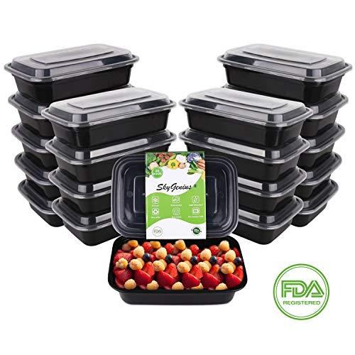 SkyGenius Meal Prep Containers, Plastic Food Prep Storage Bento Box with Lids | BPA Free | Stackable | Reusable Meal Plan Containers, Microwave/Dishwasher/Freezer Safe (20 Pack, 1 Compartment, 34 oz)