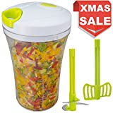 kitchen appliance black friday uk Brieftons QuickPull Food Chopper: Tall 4-Cup Hand Held Vegetable Chopper Mincer Blender to Chop Fruits, Veggies, Herbs, Onion, Garlic for Salsa, Salad, Pesto, Coleslaw, Puree, with Measuring Container