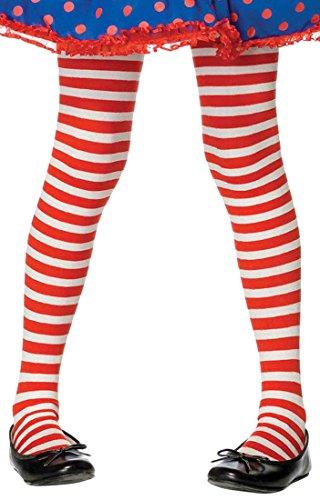 ToBeInStyle Girls' Horizontal Striped Full Length Tights - Red/White - Medium -