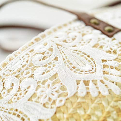 Dentelle Woven D'été Plage Femme Paille Épaule Simple iShine Handle Décorative Bag Bag Casual Top Handbag Sac De qfpzXxH