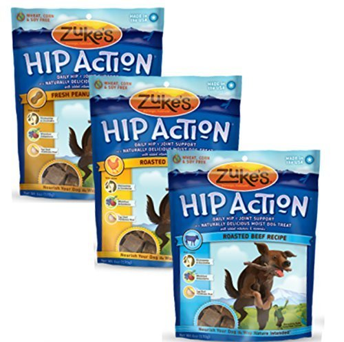 Zukes, Hip Action, Dog Treats, Economy Variety 3Pack (1 Pound of Each - Hip Zukes Treats Dog Action