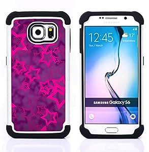 - stars purple vibrant glitter pattern - - Doble capa caja de la armadura Defender FOR Samsung Galaxy S6 G9200 RetroCandy