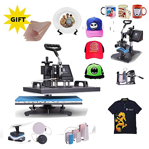 Mophorn Heat Press 6 in 1 Multifunction Sublimation Heat Press Machine Desktop Iron Baseball Heat Press Machine for T-Shirts 900W Digital Swing Away(6IN1 ()