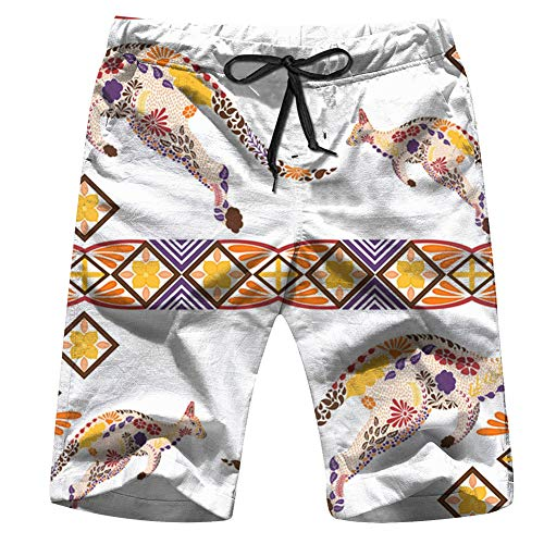 - Geometric Pastel Colors Boat Men Board Shorts Casual Printed Trunks Work Casual Shorts XL